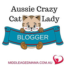 Aussie Crazy Cat Lady Blogger Badge from Middle Aged Mama